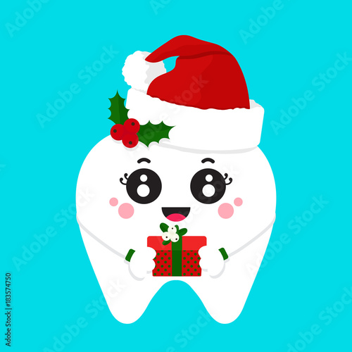 Cute Christmas tooth in red cap of Santa Claus decorated with a ...