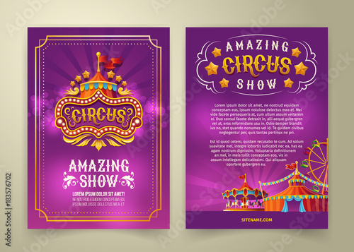 Obraz na plátně Vector circus flyer, cartoon banner, purple background with vintage emblem of the cirque and space for your text