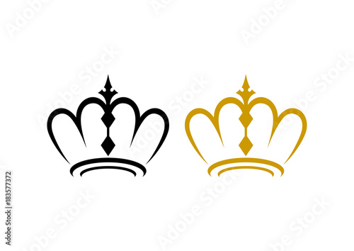Unique Line Art Crown For King And Queen Illustration Classic Logo