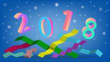 Happy New Year 2018 Text Desig...