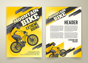 Fototapeta Vector flyer with ride on sports bicycle on yellow background, ad banners. Abstract poster of BMX competitions motocross template for promoting extreme mountain biking with cyclist and place for text