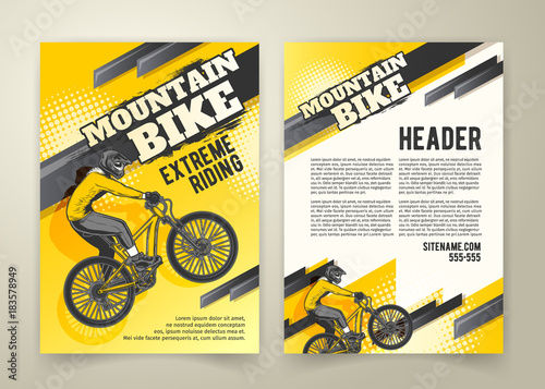 Obraz Vector flyer with ride on sports bicycle on yellow background, ad banners. Abstract poster of BMX competitions motocross template for promoting extreme mountain biking with cyclist and place for text - fototapety do salonu