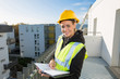 female engineer on the top of a construction site