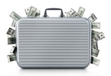 Dollar Piles Inside Briefcase....