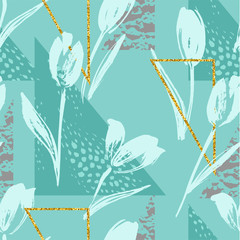 FototapetaAbstract floral seamless pattern with tulips and geometric elements.