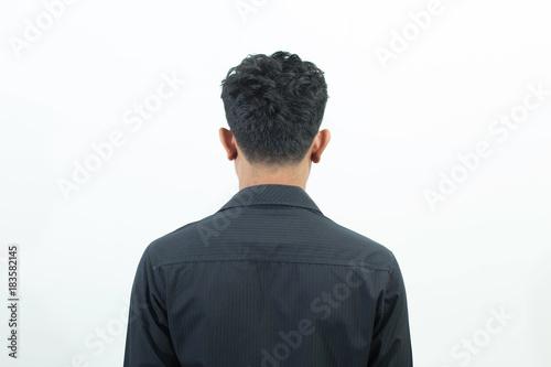 Obraz Man back standing isolated on white background - fototapety do salonu