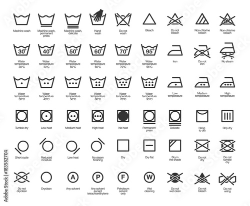 Laundry Vector Icons set, full collection Wall mural