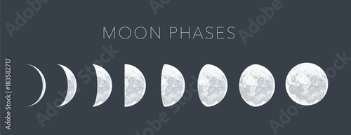 moon phases dot vector background Canvas Print