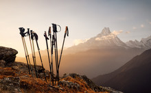 Trekking Sticks On Mountain To...