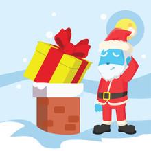Blue Santa Christmas Presents Cant Go Into Chimney– Stock Illustration