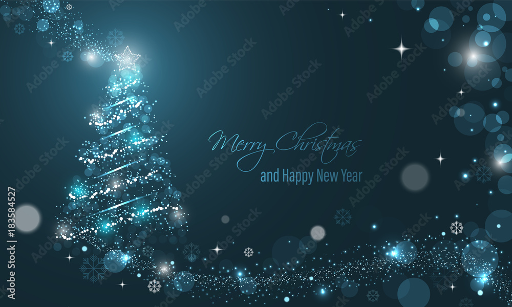 Photo  Iluminated Christmas tree with glitter, stars, snowflakes and transparent circles on a blue winter glowing vector background