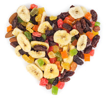 Dried Fruits In Heart Form Isolated