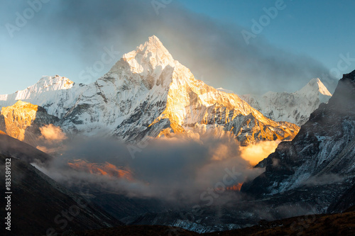 Ama Dablam (6856m) peak near the village of Dingboche in the Khumbu area of Nepal, on the hiking trail leading to the Everest base camp Canvas Print