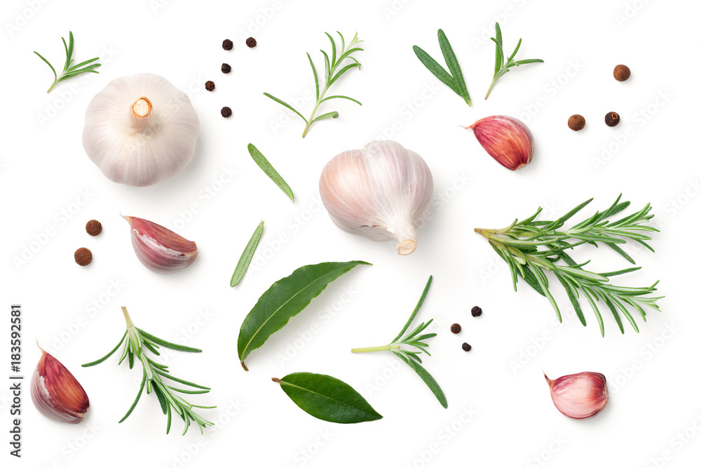 Fototapety, obrazy: Garlic, Rosemary, Bay Leaves, Allspice and Pepper Isolated on White Background