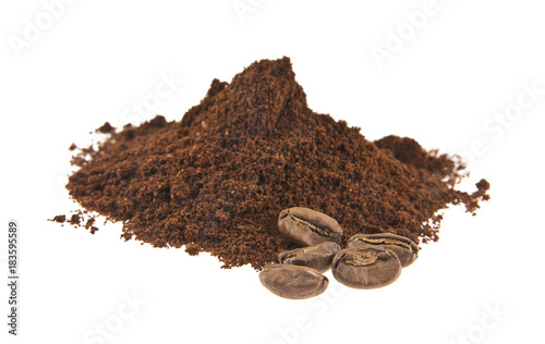 Recess Fitting Coffee bar Ground coffee and grains isolated on white background