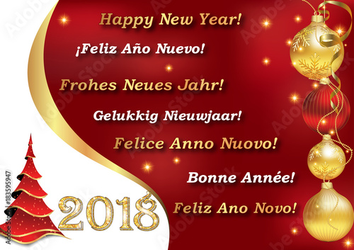 Happy new year 2018 image with message in many languages english happy new year 2018 image with message in many languages english spanish german m4hsunfo