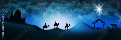 Cuadros en Lienzo Christmas Nativity Scene Of Three Wise Men Magi Going To Meet Baby Jesus in the