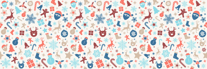 Christmas wrapping paper with seamless texture. Vector.