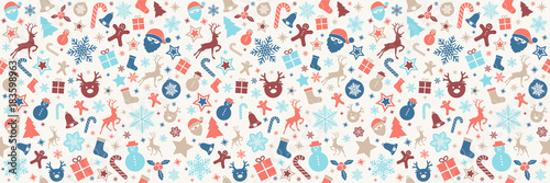 Fotografía  Christmas wrapping paper with seamless texture. Vector.