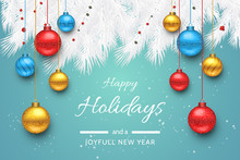 Turquoise Happy Holidays And Joyful New Year Vector Illustration. Happy Holidays Vector.
