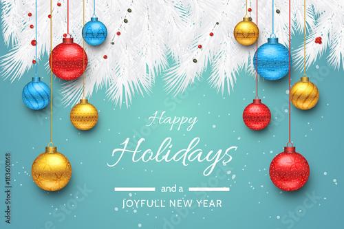Turquoise Happy Holidays and Joyful New Year Vector Illustration. Happy holidays vector.