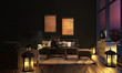 canvas print picture - Wohnzimmer im Landhausstil bei Nacht
