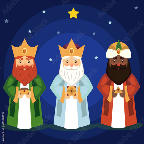 Vector illustration of the Three Wise Men. Canvas Print