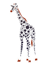 Giraffe Consist Of Dots. Vecto...