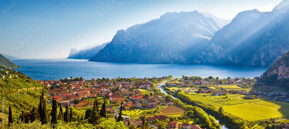Fototapety, obrazy: Town of Torbole and Lago di Garda sunset view