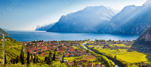 Poster Lac / Etang Town of Torbole and Lago di Garda sunset view