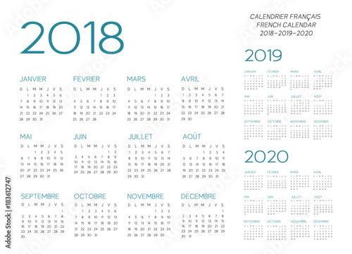 Fényképezés  French Calendar 2018-2019-2020 vector