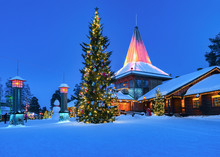 Arctic Circle Lamps In Santa Office In Santa Village Evening