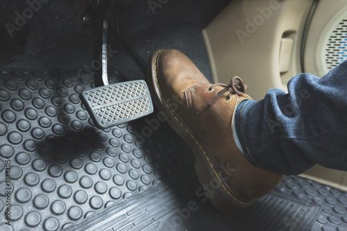 Close up Leather Shoe ob pedal in car Canvas Print