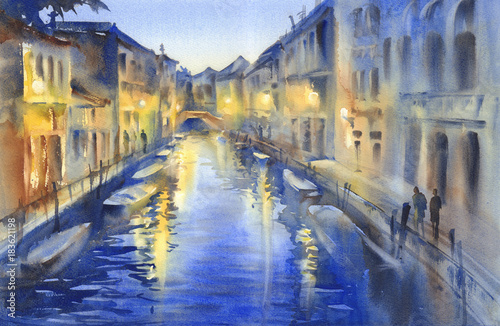Venetian night lights watercolor