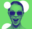 canvas print picture - happy amazed teenage girl in sunglasses