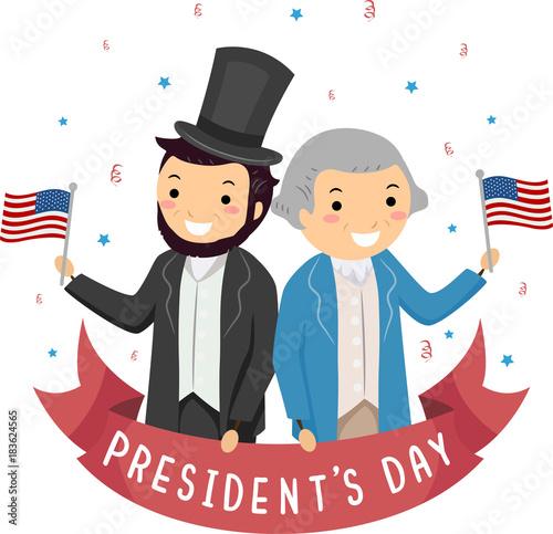 Carta da parati Stickman Lincoln Washington Presidents Day Illustration
