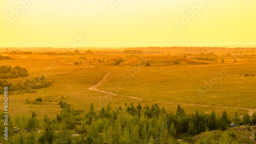 Foto op Plexiglas Zwavel geel Idyllic summer landscape with green forest, curved road and clear sky