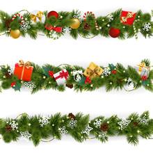 Vector Christmas Border Set Wi...