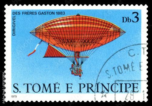 Postage stamp.  Dirigible Freres Gaston 1883. Tableau sur Toile
