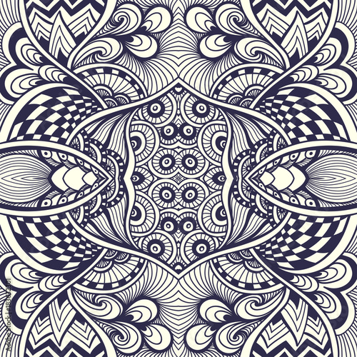 Abstract Handmade Zentangle Zendoodle Seamless Pattern Black On