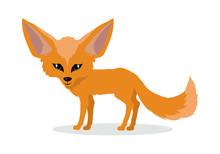 Fennec Fox Cartoon Icon In Fla...