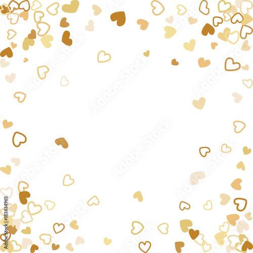 Flying Gold Hearts Frame Vector Border Background