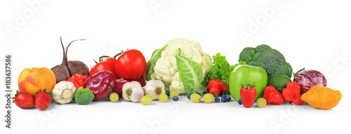 Poster Cuisine Composition of different fruits and vegetables on white background