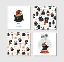 Hand Drawn Vector Abstract Fun Merry Christmas Time Cartoon Cards Collection Set With Cute Illustrations Of Santa Claus Black Cats And Xmas Handwritten Calligraphy Isolated On White Background