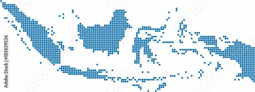 Cuadros en Lienzo Blue square Indonesia map on white background, vector illustration