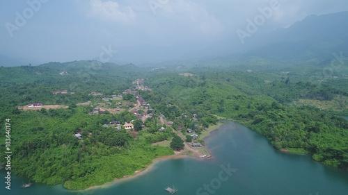 Papiers peints Bleu vert Laos Viang Vieng vue du ciel