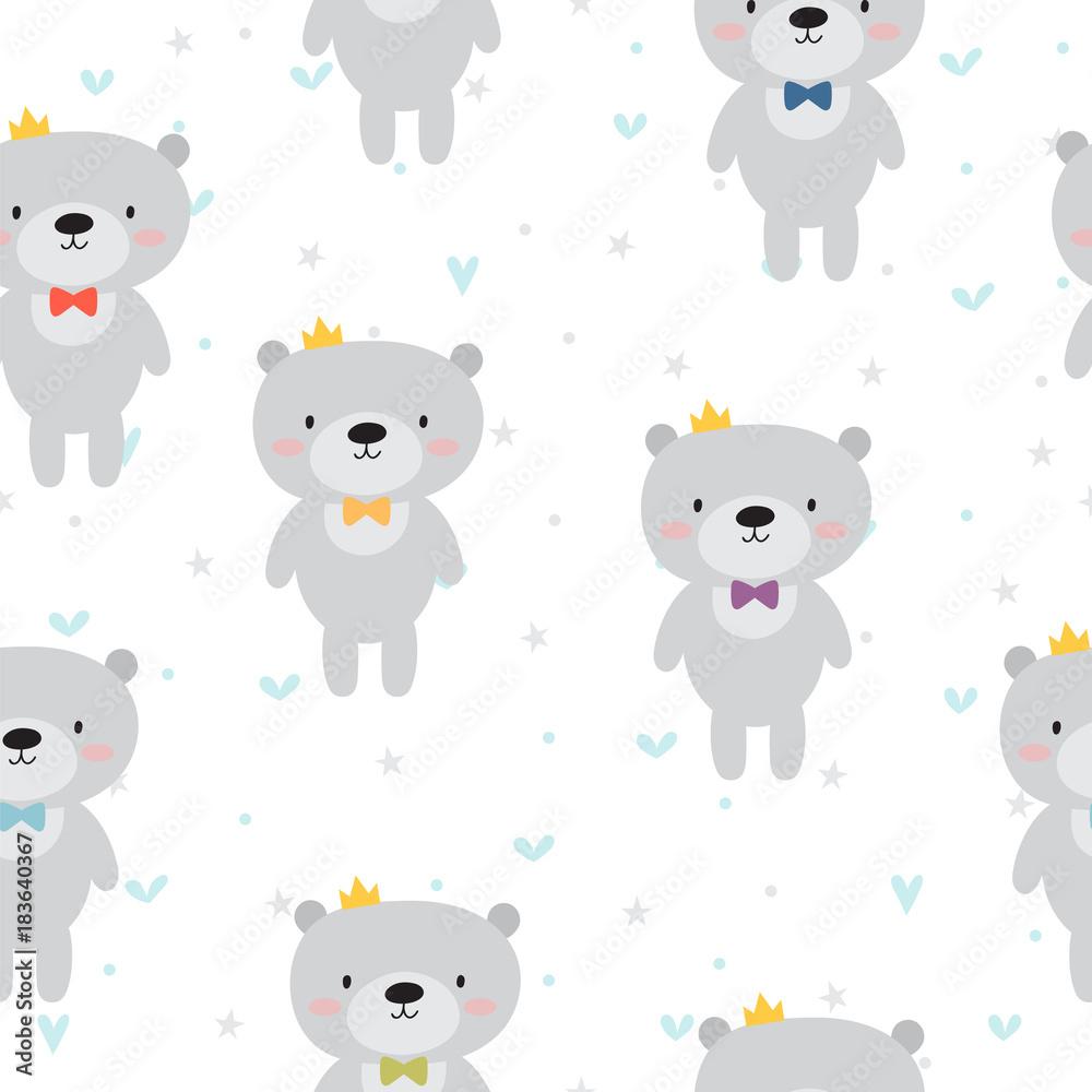 Photo  Cute seamless pattern with cartoon bear