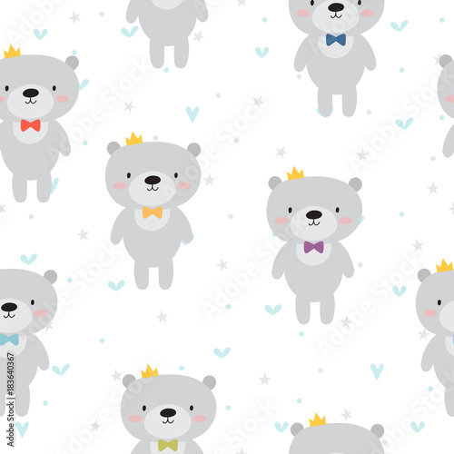 Cute seamless pattern with cartoon bear Lerretsbilde