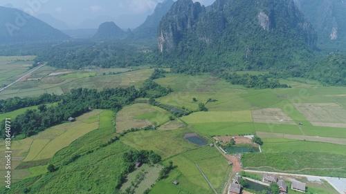 Papiers peints Olive Laos Viang Vieng vue du ciel