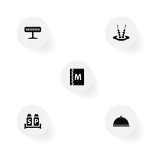 Set Of 5 Bar Icons Set.Collection Of Tray, Condiments, Canape And Other Elements.